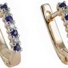 Золоті сережки з сапфіром і діамантами